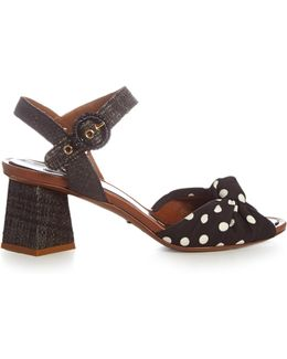 Polka-dot Print Knotted-front And Raffia Sandals