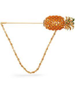 Pineapple Crystal-embellished Brooch