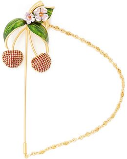 Cherry Crystal-embellished Brooch