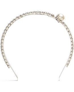 Faux-pearl And Crystal-embellished Headband