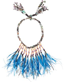 Stone And Feather-embellished Self-tie Necklace