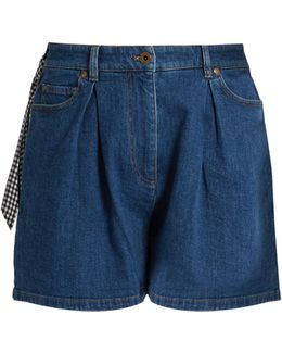 Pleated-front High-rise Denim Shorts