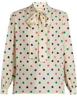 Polka-dot Print Silk Crepe De Chine Blouse