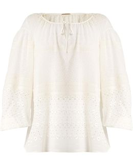 Broderie-anglaise Silk-blend Georgette Blouse