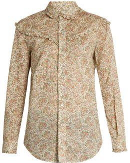 Floral-print Ruffled Cotton Shirt