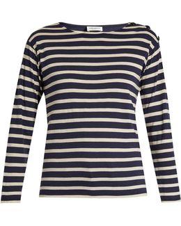 Button-shoulder Striped Cotton T-shirt