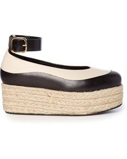Bi-colour Leather Flatform Espadrilles