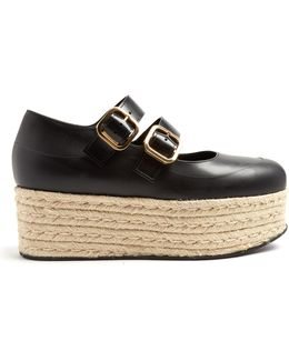 Black Leather Espadrille Flatform Sandals