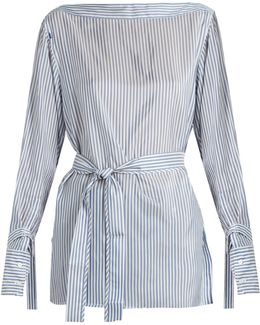 Keith Bis Boat-neck Striped Satin Top