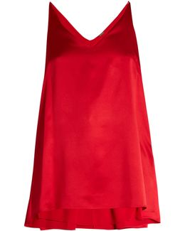 Step-hem Silk-satin Cami Top