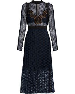 Star Repeat Lace Midi Dress