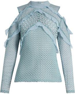 Purl Knit Lace Cut-out Shoulder Top