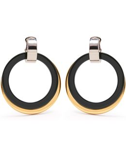 Double-hoop Drop Clip-on Earrings