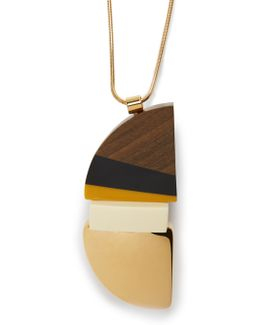 Semi-circle Wood Block Necklace