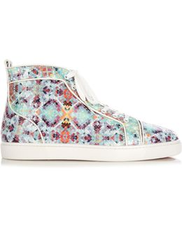 Louis Pixelated Python High-Top Trainers