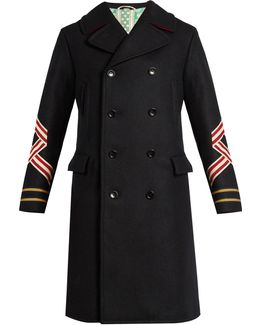 Panther And Sleeve-appliqué Wool Coat