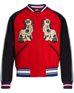 Spaniel And Tiger Appliqué Wool Bomber Jacket