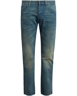 Back-embroidered Slim-fit Jeans