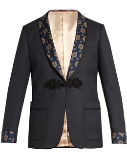 Printed-lapel Wool-blend Blazer