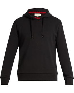 Ribbed-neck Hooded Cotton Sweatshirt