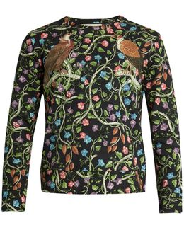 Birds-print Cotton Sweatshirt