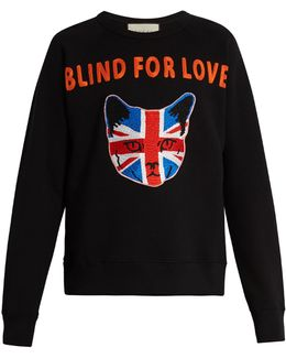 Union Jack Cat-appliqué Cotton Sweatshirt