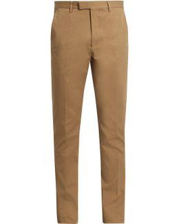 Slim-leg Cotton-blend Gabardine Chino Trousers