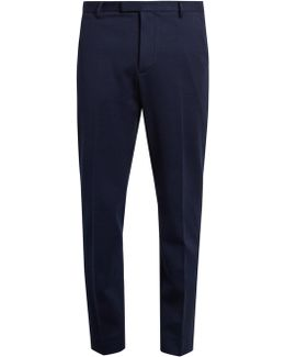 Bee-button Tailored Cotton-jersey Trousers