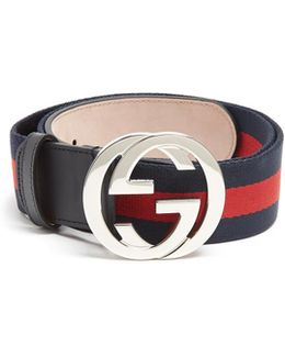 Gg-buckle Web-canvas Belt