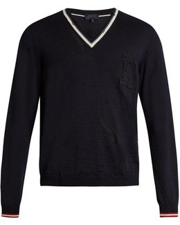 L-appliqué Cotton And Wool-blend Sweater