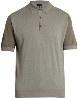 Short-sleeved Wool And Cotton-blend Polo Shirt