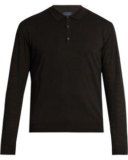 Contrast-sleeve Silk-blend Knit Polo Shirt
