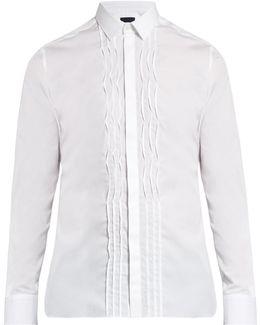 Single-cuff Pleated-bib Cotton Shirt