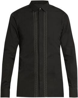 Button-cuff Stitched-front Cotton-poplin Shirt