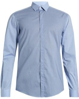 Single-cuff Contrast-check Cotton Shirt