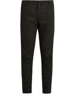 Flecked Wool-blend Biker Trousers