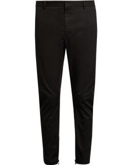 Cropped Cotton Biker Trousers
