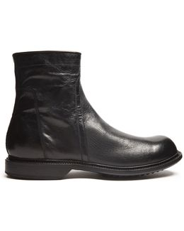 Creased-leather Ankle Boots