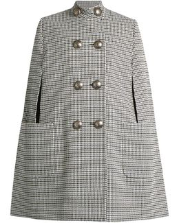 Hound's-tooth Jacquard Button-down Cape