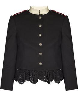 Ruffled-hem Grain De Poudre Military Jacket