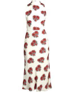 Poppy-print Ruffled-back High-neck Crepe Dress