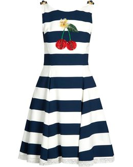 Cherry-embellished Striped Cady Dress