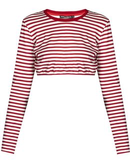 Striped Cotton-jersey Cropped Top