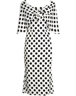 Tie-front Polka-dot Print Charmeuse Dress