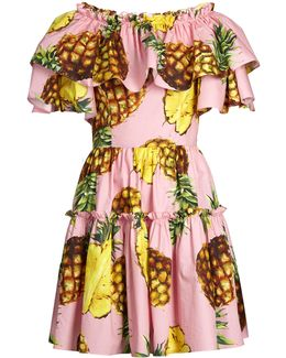 Pineapple-print Ruffled-panel Cotton Dress
