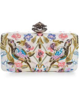 Heart-clasp Floral-embellished Satin Box Clutch