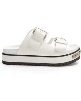 Double-strap Leather Flatform Sandals