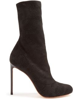 Eyelet-knit Sock Ankle Boots