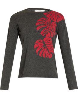 Palm-leaf Intarsia Cashmere Sweater