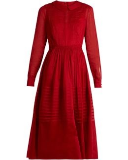 Long-sleeved Pleated Cotton-organza Dress